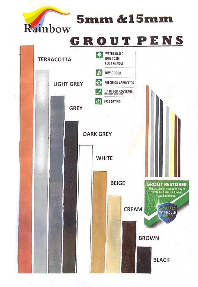 Grout Pens, Paint discoloured grout. 13 colours. Australia based.